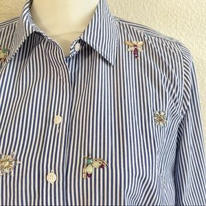 Talbots Petites Garden Insect Sequined Button-up